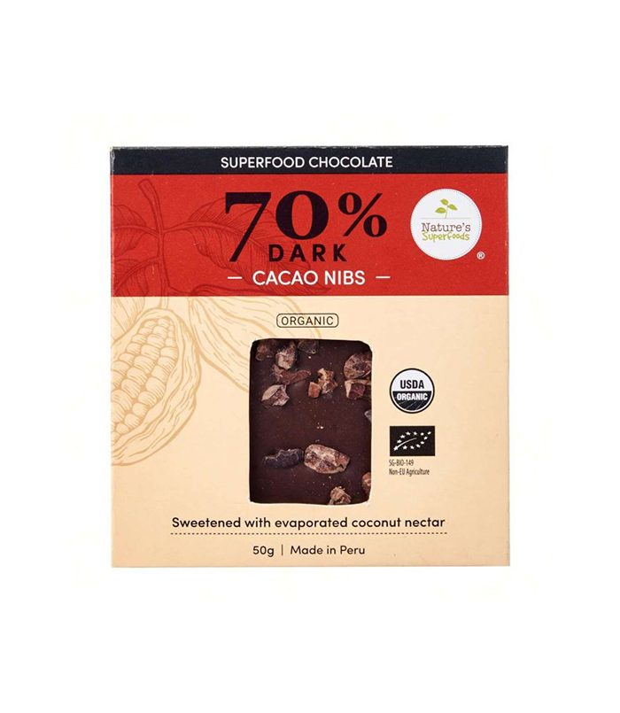 Organic Superfood Chocolate (70% Dark) with Cacao Nibs