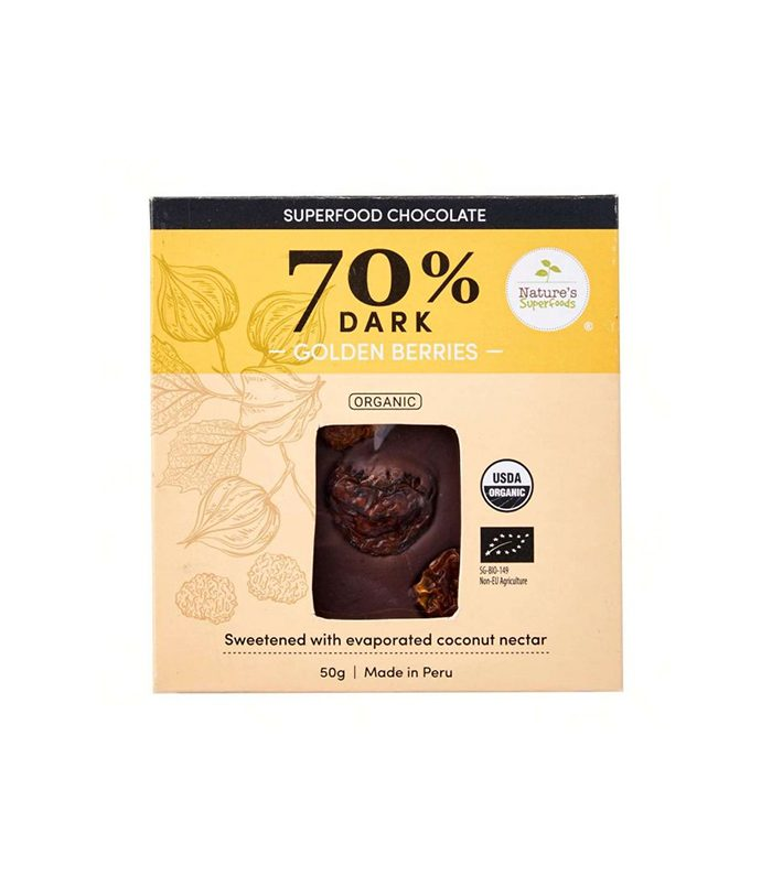 Organic Superfood Chocolate (70% Dark) with Golden Berries